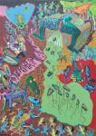 1986 LA NAISSANCE DES HOMMES CROCODILES   170x120 cm  acrylique et technique mixte sur toile de jute