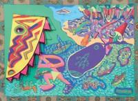 1986 LE SORCIER DE LA RIVIERE JAUNE  97x130 cm  acrylique et technique mixte sur toile de jute