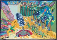 1987 HOMMES CROCODILES, RITES ET CEREMONIES  114x160 cm  acrylique sur toile de lin