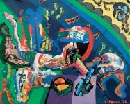 1988 LA COLERE OU LA TOILE DU FOU  100x120 cm  acrylique sur toile de lin
