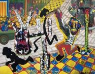 1989 HAUT LES MAINS  140x180 cm  acrylique sur toile de lin