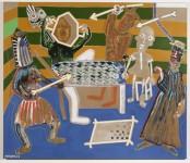 2001  L'ENLEVEMENT DE L'HOMME  180x210cm  acrylique et technique mixte sur toile de lin