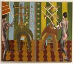 2002  ALLER RETOURS  180x210 cm  acrylique et etchnique mixte sur toile de lin