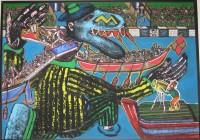 GULLIVER AUX JOUTES  1995  120x170cm  acrylique sur toile de jute