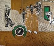 SCENES DE RUE  1997  180x210cm  acrylique et technique mixte sur toile