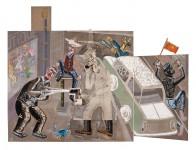 """2010  HOMMAGE A CESARE BATTISTI """"L'eau du diamant""""  180x210cm  acrylique et technique mixte sur toile"""