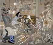 """2010  HOMMAGE A JAMES ELLROY """"Au bout de la nuit""""  180x210cm  acrylique et technique mixte sur toile"""