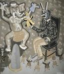 2012  D'UN TOTEM, L'AUTRE  210x180cm_acrylique, feuille d'or et collages sur toile de lin