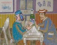 """2016  LA PARTIE DE CARTES (interpretation de """"Les joueurs de cartes"""" de Cézanne)  72x93cm  acrylique et technique mixte sur toile de lin"""