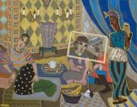 """2016  LES DEMOISELLES DE MOGADOR (interpretation des """"Femmes d'Alger dans leur appartement"""" de Delacroix)  114x146cm  acrylique sur toile de lin"""