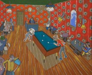 """2016  UNE NUIT AU CAFE (interpretation de """"Le Cafe de nuit"""" de Van Gogh)   81x100cm  acrylique sur toile de lin"""